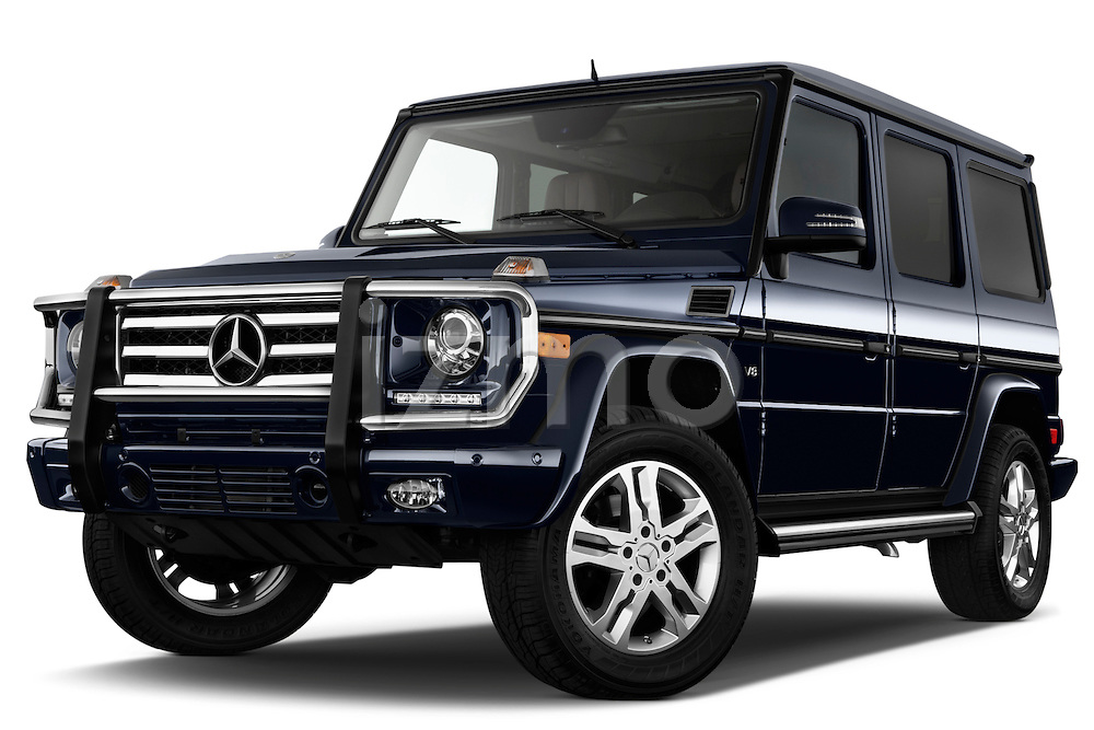 Low aggressive front three quarter view of 2013 Mercedes-Benz G-Class G550 SUV Stock Photo