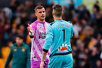 2nd October 2021;  Molineux Stadium, Wolverhampton,  West Midlands, England; EFL Cup football, Wolverhampton Wanderers versus Newcastle United; Jose Sa of Wolverhampton Wanderers commiserates with Karl Darlow of Newcastle United after the final whistle