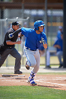 Toronto Blue Jays shortstop Bo Bichette (18) runs to first base during a minor league Spring Training game against the New York Yankees on March 30, 2017 at the Englebert Complex in Dunedin, Florida.  (Mike Janes/Four Seam Images)