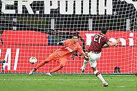 Zlatan Ibrahimovic of AC Milan scores on penalty the goal of 2-2 during the Serie A football match between AC Milan and Juventus FC at stadio San Siro in Milan ( Italy ), July 7th, 2020. Play resumes behind closed doors following the outbreak of the coronavirus disease. <br /> Photo Matteo Gribaudi / Image  / Insidefoto