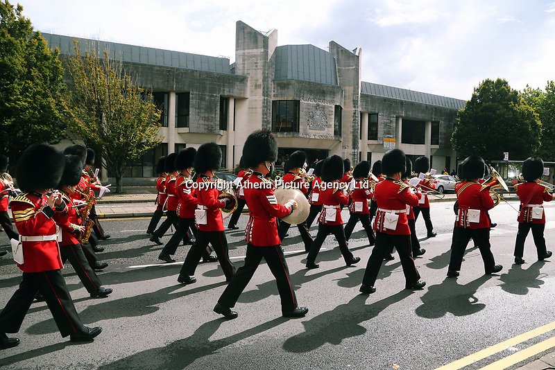 Pictured: The Welsh Guards parade through St Helen's Street past the Crown Court in Swansea.  Friday 15 September 2017<br />Re: Soldiers from the Welsh Guards have exercised their freedom to march through the streets of Swansea in Wales, UK.<br />The Welsh warriors paraded with bayonets-fixed from the city centre to the Brangwyn Hall, where the Lord Mayor of Swansea took a salute.