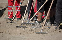 Pictured: Forensic archaeologists assisted by Hellenic Rescue volunteers use rakes to search through soil at the second site in Kos, Greece. Sunday 16 October 2016<br /> <br /> Re: Police teams led by South Yorkshire Police are searching for missing toddler Ben Needham on the Greek island of Kos.<br /> Ben, from Sheffield, was 21 months old when he disappeared on 24 July 1991 during a family holiday.<br /> Digging has begun at a new site after a fresh line of inquiry suggested he could have been crushed by a digger.