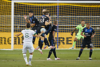 SAN JOSE, CA - SEPTEMBER 19: Andy Rios #25, Florian Jungwirth #23, Tanner Beason #15, and Jackson Yueill #14 of the San Jose Earthquakes form a wall as Diego Valeri #8 of the Portland Timbers takes a direct kick during a game between Portland Timbers and San Jose Earthquakes at Earthquakes Stadium on September 19, 2020 in San Jose, California.