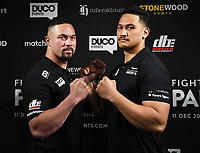 6th October 2020, Auckland, New Zealand;  Joseph Parker and Junior Fa face off during a boxing press conference confiming the heavyweight boxing match between Joseph Parker and Junior Fa. Spark City, Auckland