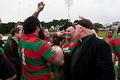 Simon Lemalu, Mark Muir and Peter Summerville celebrate the winning of the McNamara Cup. Counties Manukau McNamara Cup Premier Club Rugby final between Pukekohe andWaiuku, held at Bayer Growers Stadium, on Saturday July 17th. Waiuku won 25 - 20.
