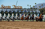 ARCADIA, CA FEBRUARY 6:  The start of the Las Virgenes Stakes (Grade lll) on February 6, 2021 at Santa Anita Park in Arcadia, CA.  (Photo by Casey Phillips/EclipseSportswire/CSM)