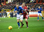 Aberdeen v St Johnstone…..05.02.20   Pittodrie   SPFL<br />Lewis Ferguson takes a hold of Stevie May<br />Picture by Graeme Hart.<br />Copyright Perthshire Picture Agency<br />Tel: 01738 623350  Mobile: 07990 594431