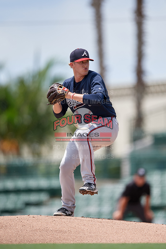 GCL Braves pitcher Joey Estes (19) during a Gulf Coast League game against the GCL Orioles on August 5, 2019 at Ed Smith Stadium in Sarasota, Florida.  GCL Orioles defeated the GCL Braves 4-3 in the second game of a doubleheader.  (Mike Janes/Four Seam Images)