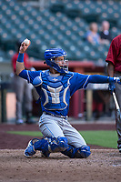 Kansas City Royals catcher Sebastian Rivero (4) during an Instructional League game against the Arizona Diamondbacks at Chase Field on October 14, 2017 in Scottsdale, Arizona. (Zachary Lucy/Four Seam Images)