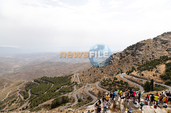 The stunning Alto de Velefique climb during Stage 9 of La Vuelta d'Espana 2021, running 188km from Puerto Lumbreras to Alto de Velefique, Spain. 22nd August 2021.    <br /> Picture: Cxcling | Cyclefile<br /> <br /> All photos usage must carry mandatory copyright credit (© Cyclefile | Cxcling)