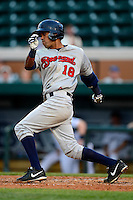 Brevard County Manatees outfielder Dionis Hinojosa #18 during a game against the Lakeland Flying Tigers on April 10, 2013 at Joker Marchant Stadium in Lakeland, Florida.  Brevard County defeated Lakeland 7-6.  (Mike Janes/Four Seam Images)