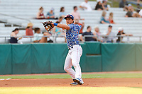 Tennessee Smokies third baseman Chase Strumpf (19) on defense against the Rocket City Trash Pandas at Smokies Stadium on July 2, 2021, in Kodak, Tennessee. (Danny Parker/Four Seam Images)