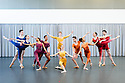London, UK. 23.04.2015. New English Ballet Theatre rehearses in the studio at Rambert, for their forthcoming production. The piece being rehearsed is ORBITAL MOTION, choreographed by Valentino Zucchetti. The company dancers are: Blue: Abigail Mattox & Paul Oliver<br /> Purple: Chantelle Gotobed & Jason Inniss <br /> Yellow: Emma Lucibello & Niklas Blomkvist <br /> Orange: Chloé Lopes Gomes & Ivan Delgado del Rio<br /> Red: Alexandra Cameron-Martin & György Baán. Photograph © Jane Hobson.