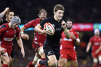 Pictured: Beauden Barrett of New Zealand scores yet another try for his team Saturday 22 November 2014<br /> Re: Dove Men Series 2014 rugby, Wales v New Zealand at the Millennium Stadium, Cardiff, south Wales, UK.