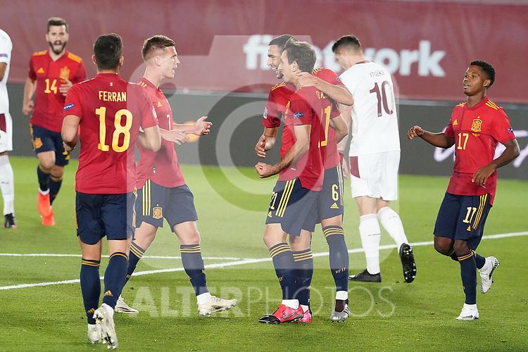 Spain's Jose Gaya, Ferran Torres, Dani Olmo, Mikel Merino, Mikel Oyarzabal and Ansu Fati celebrate goal during UEFA Nations League 2020 League Phase match. October 10,2020.(ALTERPHOTOS/Acero)