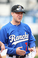 Rancho Cucamonga Quakes Manager Drew Saylor (7) meets with the umpires before a game against the Lake Elsinore Storm at LoanMart Field on April 10, 2016 in Rancho Cucamonga, California. Lake Elsinore defeated Rancho Cucamonga, 7-6. (Larry Goren/Four Seam Images)
