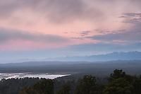 Dusk over Okarito Lagoon, Westland Tai Poutini National Park, UNESCO World Heritage Area, South Westland, New Zealand, NZ