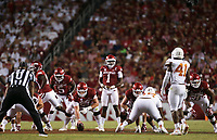 Arkansas quarterback KJ Jefferson (1) , Saturday, September 11, 2021 during the fourth quarter of a football game at Reynolds Razorback Stadium in Fayetteville. Check out nwaonline.com/210912Daily/ for today's photo gallery. <br /> (NWA Democrat-Gazette/Charlie Kaijo)