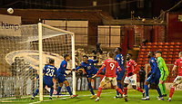 11th February 2021; Oakwell Stadium, Barnsley, Yorkshire, England; English FA Cup 5th round Football, Barnsley FC versus Chelsea;  Tammy Abraham of Chelsea heads the ball off the line and out over his bar for a corner to keep the score 1-0