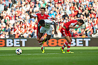 Sun 06 October 2013 Pictured:Wilfried Bony of Swansea  gets in a collision with Jose Fonte Re: Barclays Premier League Southampton FC  v Swansea City FC  at St.Mary's Stadium, Southampton
