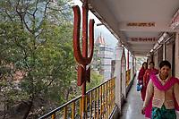 India, Rishikesh.  Trident, emblem of the Hindu god Shiva, Tera Manzil Temple.