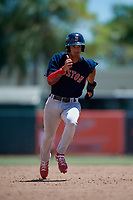 GCL Red Sox Matthew Lugo (46) running the bases during a Gulf Coast League game against the GCL Orioles on July 29, 2019 at Ed Smith Stadium in Sarasota, Florida.  GCL Red Sox defeated the GCL Pirates 9-1.  (Mike Janes/Four Seam Images)
