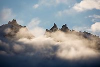 Clouds over the Aleutian mountains in Katmai National Park, Alaska Peninsula, southwest Alaska.