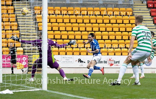 St Johnstone v Celtic…04.10.20   McDiarmid Park  SPFL<br />Craig Conway smashes the ball against the post<br />Picture by Graeme Hart.<br />Copyright Perthshire Picture Agency<br />Tel: 01738 623350  Mobile: 07990 594431