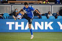 SAN JOSE, CA - MAY 12: Shea Salinas #6 of the San Jose Earthquakes traps the ball during a game between San Jose Earthquakes and Seattle Sounders FC at PayPal Park on May 12, 2021 in San Jose, California.
