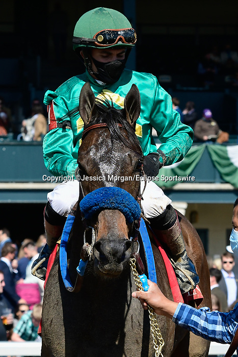 April 03, 2021: Flagstaff #1 ridden by Joel Rosario wins the Commonwealth Stakes (Grade 3) on Blue Grass Stakes Day at Keeneland Race Course in Lexington, Kentucky on April 03, 2021. Jessica Morgan/Eclipse Sportswire/CSM