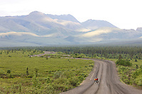 Bikers along the Denali Park road near Teklenika campground, Denali National Park, interior, Alaska.
