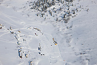 Mushers rest their dogs at the checkpoint of Gold Run during the 2008 All Alaska Sweepstakes sled dog race.