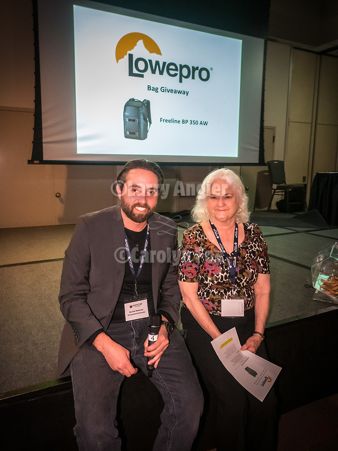 Winner of the LowPro camera bag with Rachid Danhoun during Friday symposium at STW XXXI, Winnemucca, Nevada, April 12, 2019.<br /> .<br /> .<br /> .<br /> .<br /> @LoweProBags, @shootingthewest, @winnemuccanevada, #ShootingTheWest, @winnemuccaconventioncenter, #WinnemuccaNevada, #STWXXXI, #NevadaPhotographyExperience, #WCVA
