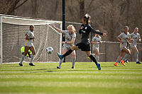 LOUISVILLE, KY - MARCH 13: Julianne Vallerand #26 of West Virginia University blocks a kick from Yuki Nagasato #17 of Racing Louisville FC during a game between West Virginia University and Racing Louisville FC at Thurman Hutchins Park on March 13, 2021 in Louisville, Kentucky.