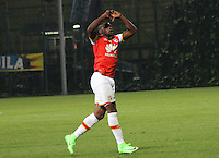 BOGOTA -COLOMBIA, 1-03-2017. Leyvin Balanta celebrates his goal against Tigres FC.Action game between  Tigres FC  and Santa Fe during match for the date 7 of the Aguila League I 2017 played at Metropolitano de Techo stadium . Photo:VizzorImage / Felipe Caicedo  / Staff