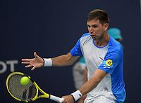 MIAMI GARDENS, FLORIDA - MARCH 24: Novak Djokovic of Serbia defeats Federico Delbonis of Argentina on Day 7 of the Miami Open Presented by Itau at Hard Rock Stadium on March 24, 2019 in Miami Gardens, Florida<br /> <br /> People: Federico Delbonis