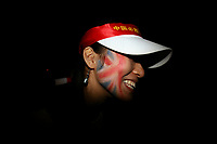 CHINA. Beijing. A spectator with a British Union Jack flag painted on her face during the Beijing 2008 Summer Olympics. 2008