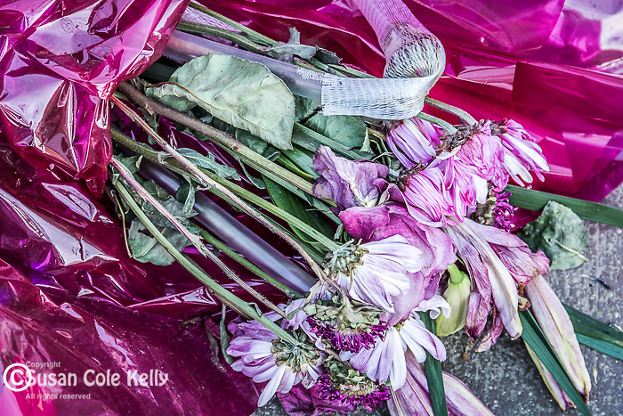 A bouquet from the Boston Marathon bombing memorial in Copley Square, Boston, Massachusetts, USA
