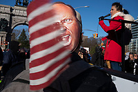 """NEW YORK, NEW YORK - DECEMBER 06: A woman speaks during a protest to resist government mandated Covid-19 restrictions on December 6, 2020 in Brooklyn, New York. At a """"Medical Freedom"""" rally in Brooklyn organized by the group Liberate NY and others who resist government mandated Covid-19 restrictions organizers denounces government requirements to use masks and the anticipated Covid vaccine.(Photo by Stephen Ferry/VIEWpress)"""