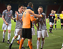 Queen's Park players celebrates at the end of the game .....