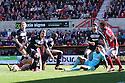 Luke Freeman of Stevenage's shot is blocked by Wesley Foderingham of Swindon . Swindon Town v Stevenage - npower League 1 -  County Ground, Swindon - 20th April, 2013. © Kevin Coleman 2013..
