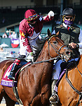 November 6, 2020: Irad Ortiz, Jr. pats Golden Pal, winner of the Juvenile Turf Sprint on Breeders' Cup Championship Friday at Keeneland on November 6, 2020: in Lexington, Kentucky. Candice Chavez/Breeders Cup/Eclipse Sportswire/CSM
