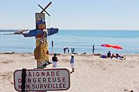 France/13/Bouches du Rhone/Camargue/Parc Naturel Régionnal de Camargue/Saintes Maries de la Mer: La plage lors de la fête des  Gitans