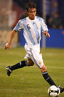 Argentina defender Gabriel Heinze (6). The men's national teams of the United States and Argentina played to a 0-0 tie during an international friendly at Giants Stadium in East Rutherford, NJ, on June 8, 2008.