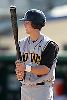 Outfielder Trevor Willis #9 of the Iowa Hawkeyes during the Big East-Big Ten Challenge vs. the West Virginia Mountaineers at Jack Russell Stadium in Clearwater, Florida;  February 18, 2011.  West Virginia defeated Iowa 5-0 in both teams opening games of the season.  Photo By Mike Janes/Four Seam Images