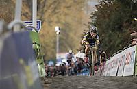 Jolien Verschueren (BEL/Telenet-Fidea) up the very steep stretch of the infamous Koppenberg on her way to a consecutive win <br /> <br /> 25th Koppenbergcross 2016