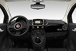 Stock photo of straight dashboard view of 2019 Fiat 500 Pop 3 Door Hatchback Dashboard