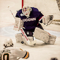 20 January 2017: University of Connecticut Husky Goaltender Rob Nichols, a Senior from Dallas, Texas, in third period action against the University of Vermont Catamounts at Gutterson Fieldhouse in Burlington, Vermont. The Huskies fell to the Catamounts 5-4 in the first game of their Home-and-Home Hockey East Series. Mandatory Credit: Ed Wolfstein Photo *** RAW (NEF) Image File Available ***