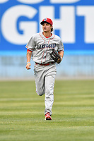 Lakewood BlueClaws center fielder Mickey Moniak (22) during a game against the Beer City Tourists at McCormick Field on June 1, 2017 in Asheville, North Carolina. The Tourists defeated the BlueClaws 8-5. (Tony Farlow/Four Seam Images)