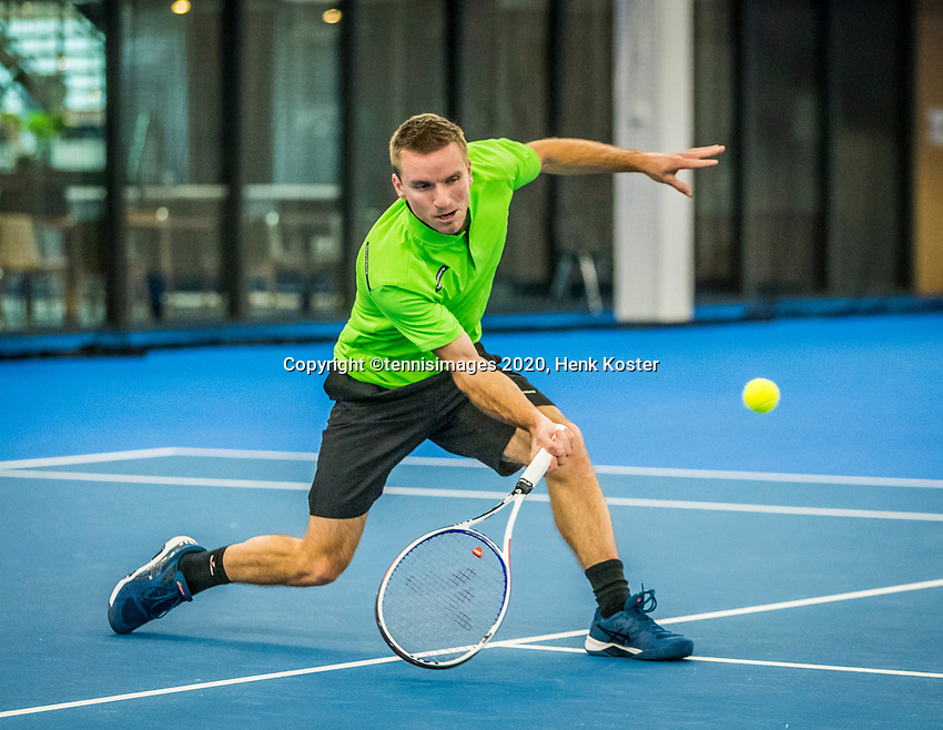 Amstelveen, Netherlands, 17  December, 2020, National Tennis Center, NTC, NK Indoor, National  Indoor Tennis Championships,   : 	Alban Meuffels (NED) <br /> Photo: Henk Koster/tennisimages.com